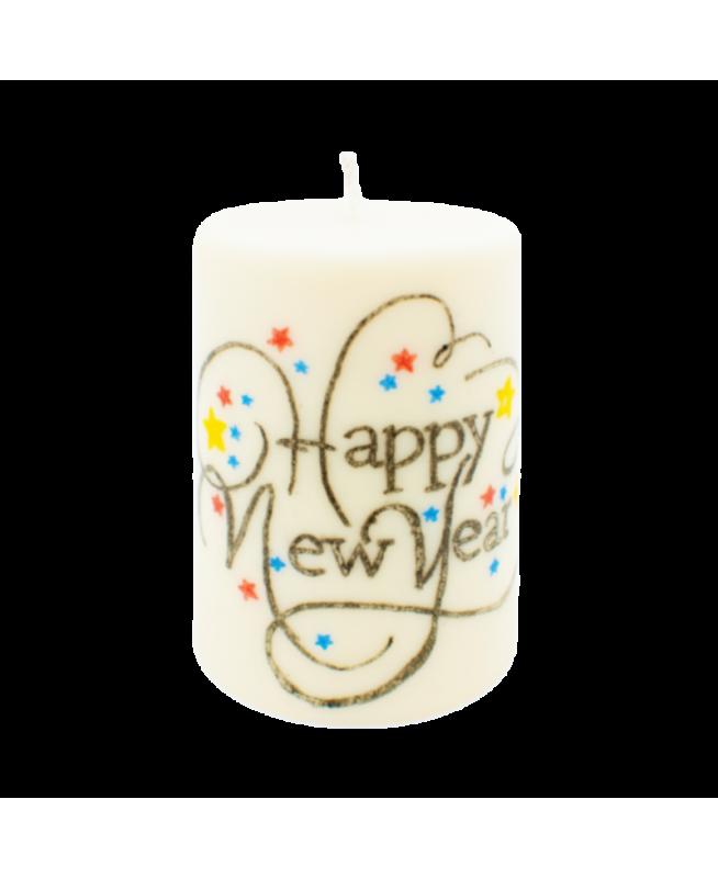 Bougie avec dessin pour le nouvel an