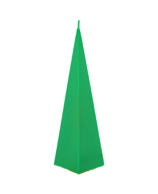 Bougie verte pour la décoration de la table ou de la maison. Couleur résistante, parfum pas écoeurant