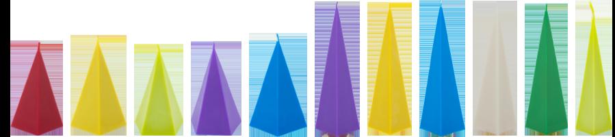 Bougie pyramide artisanale naturelle et colorée. En cire de colza